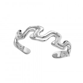 Wave Design Toe Ring in 9ct White Gold