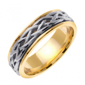 Weave Celtic Wedding Ring in 9ct Two-Tone Gold