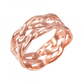 Weave Decorative Wedding Ring in 9ct Rose Gold