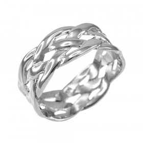 Weave Decorative Wedding Ring in 9ct White Gold