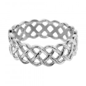 Weave Wedding Ring in 9ct White Gold