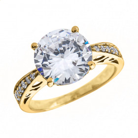 4.0ct White Topaz and Diamond Band Engagement Ring in 9ct Gold