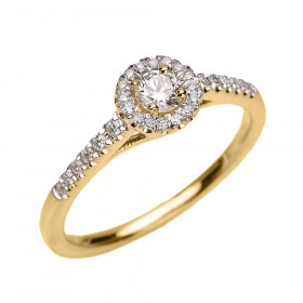 0.18ct White Topaz and Diamond Halo Engagement Ring in 9ct Gold