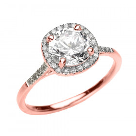 1.75ct White Topaz and Diamond Halo Engagement Ring in 9ct Rose Gold
