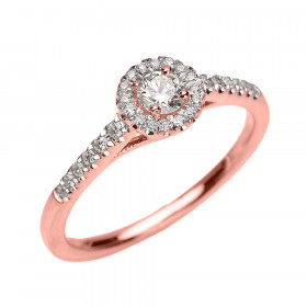 0.18ct White Topaz and Diamond Halo Engagement Ring in 9ct Rose Gold