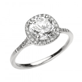 1.75ct White Topaz and Diamond Halo Engagement Ring in 9ct White Gold