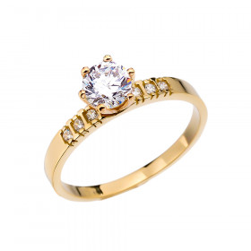 1.0ct White Topaz and Diamond Solitaire Engagement Ring in 9ct Gold