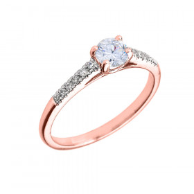 0.5ct White Topaz and Diamond Solitaire Engagement Ring in 9ct Rose Gold