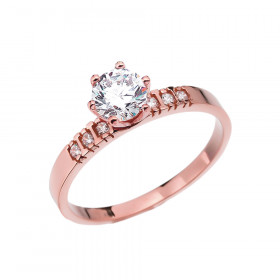 1.0ct White Topaz and Diamond Solitaire Engagement Ring in 9ct Rose Gold