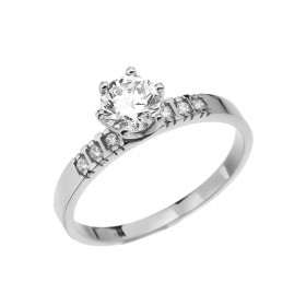 1.0ct White Topaz and Diamond Solitaire Engagement Ring in 9ct White Gold