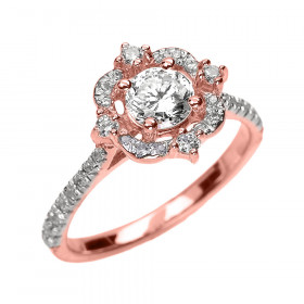 0.6ct White Topaz and Diamond Vintage Engagement Ring in 9ct Rose Gold