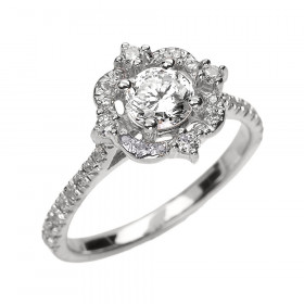 0.6ct White Topaz and Diamond Vintage Engagement Ring in 9ct White Gold