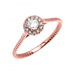0.08ct White Topaz Halo Rope Design Promise Twisted Rope Ring in 9ct Rose Gold