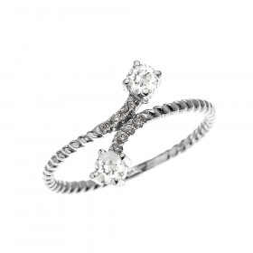 0.16ct White Topaz Rope Design Promise Twisted Rope Ring in 9ct White Gold