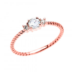 0.22ct White Topaz Stackable Rope Design Promise Ring in 9ct Rose Gold