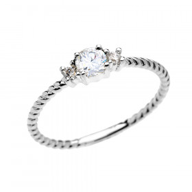 0.22ct White Topaz Stackable Rope Design Promise Ring in 9ct White Gold