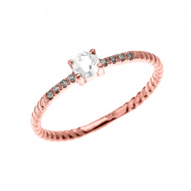 0.08ct White Topaz Stackable Rope Design Twisted Rope Ring in 9ct Rose Gold