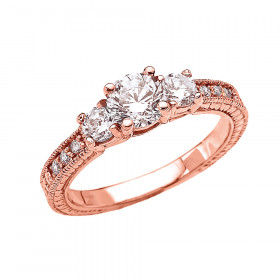 1.0ct White Topaz Three Stone Art Deco Ring in 9ct Rose Gold