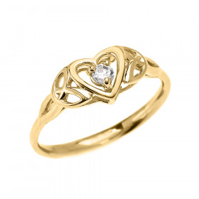 0.08ct White Topaz Trinity Knot Heart Ring in 9ct Gold
