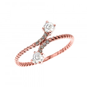 0.16ct White Topaz Two Stone Rope Design Promise Twisted Rope Ring in 9ct Rose Gold
