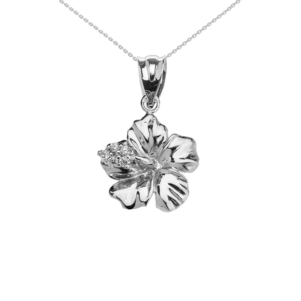 0.07ct Diamond Caribbean Hibiscus Flower Pendant Necklace In 9ct White Gold