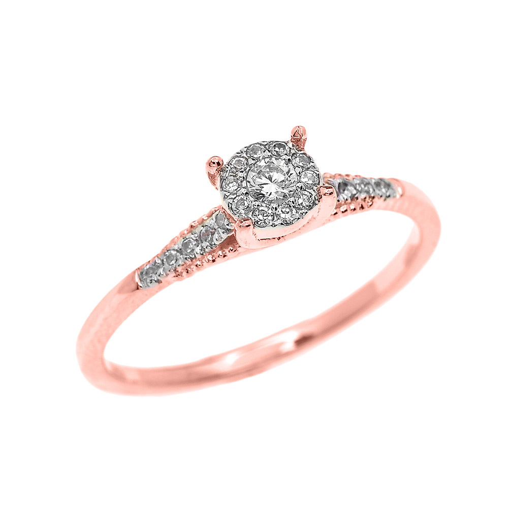 0.07ct Diamond Elegant Halo Solitaire Engagement Ring In 9ct Rose Gold