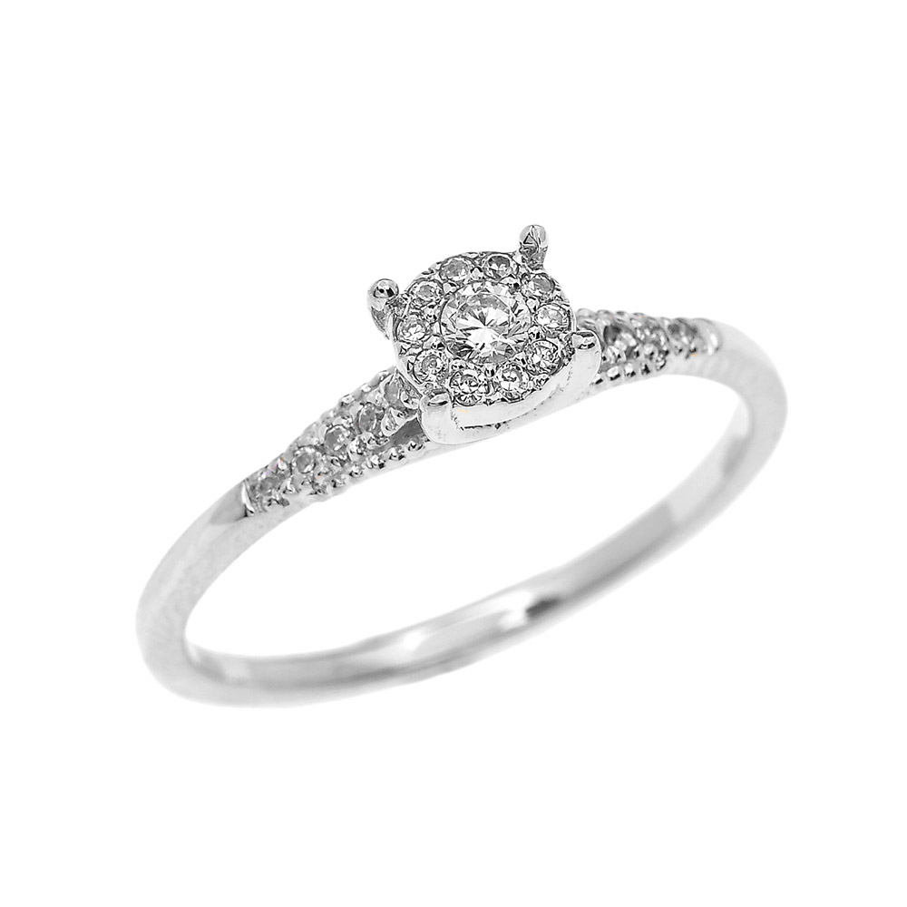 0.07ct Diamond Elegant Halo Solitaire Engagement Ring In 9ct White Gold
