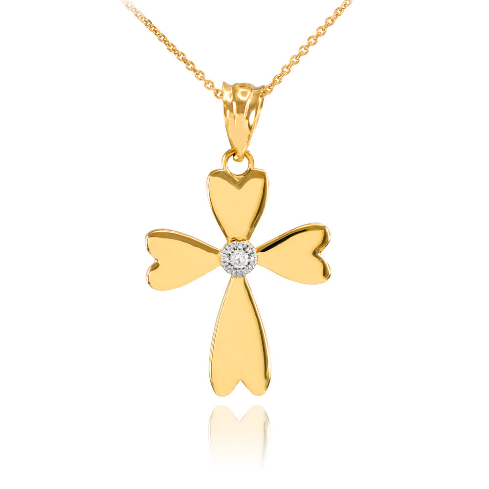 0.005ct Diamond Heart Cross Pendant Necklace In 9ct Gold
