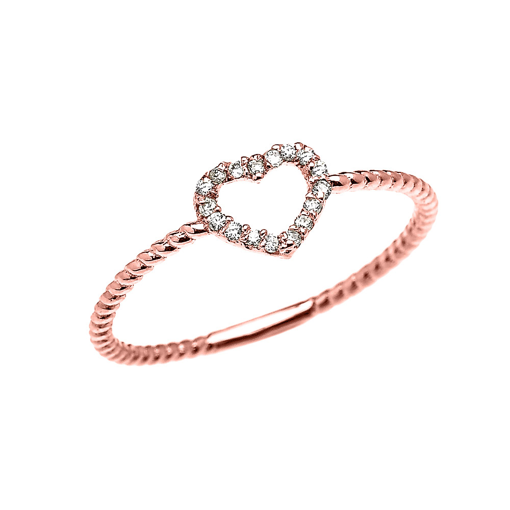 0.07ct Diamond Stackable Open Heart Rope Promise Twisted Rope Ring In 9ct Rose Gold