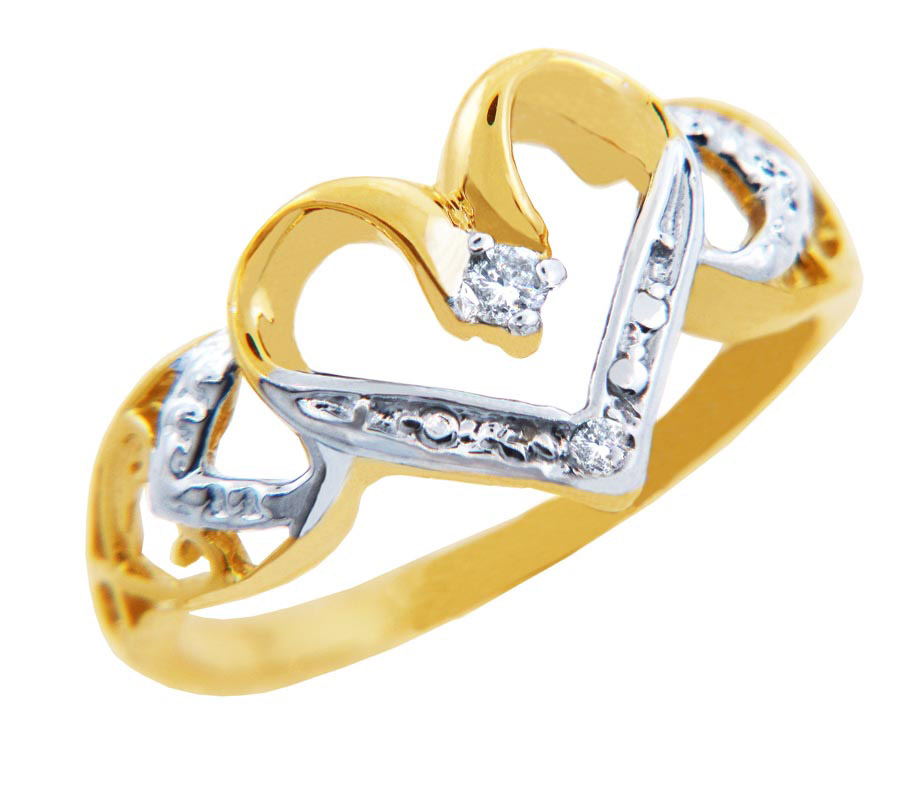 Diamond Valentine Heart 2 S Ring in 9ct Two-Tone Gold GB52437G