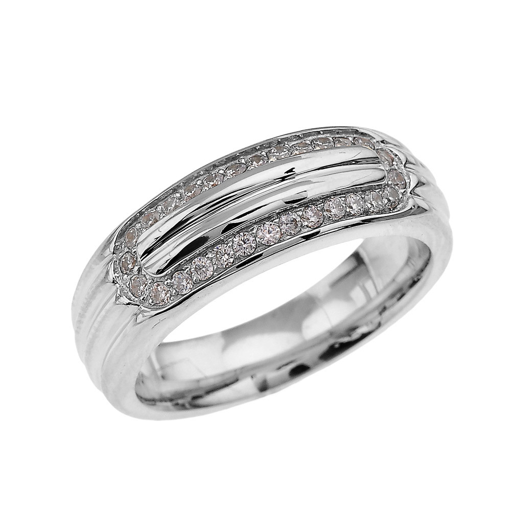 Men's 0.4ct Diamond Comfort Fit Ribbed Stripe Ring in Sterling Silver GB62457S