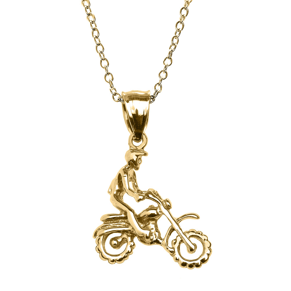 Off Road Mountain Motorcycle Charm Pendant Necklace in 9ct Gold GB62102Y
