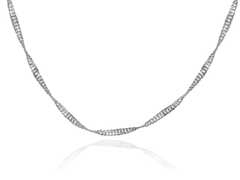 0.2mm Singapore Chain in 14K White Gold