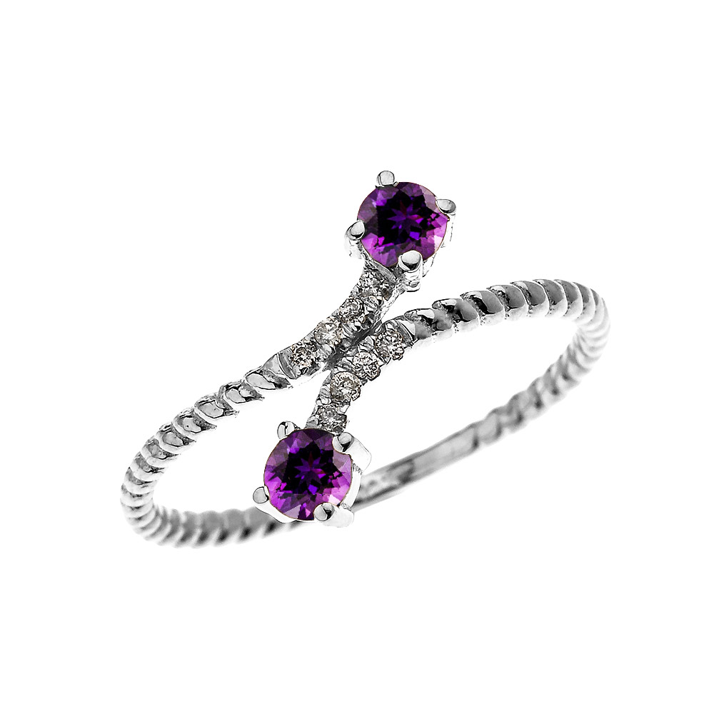 0.16ct Amethyst Rope Design Promise Twisted Rope Ring in 14K White Gold