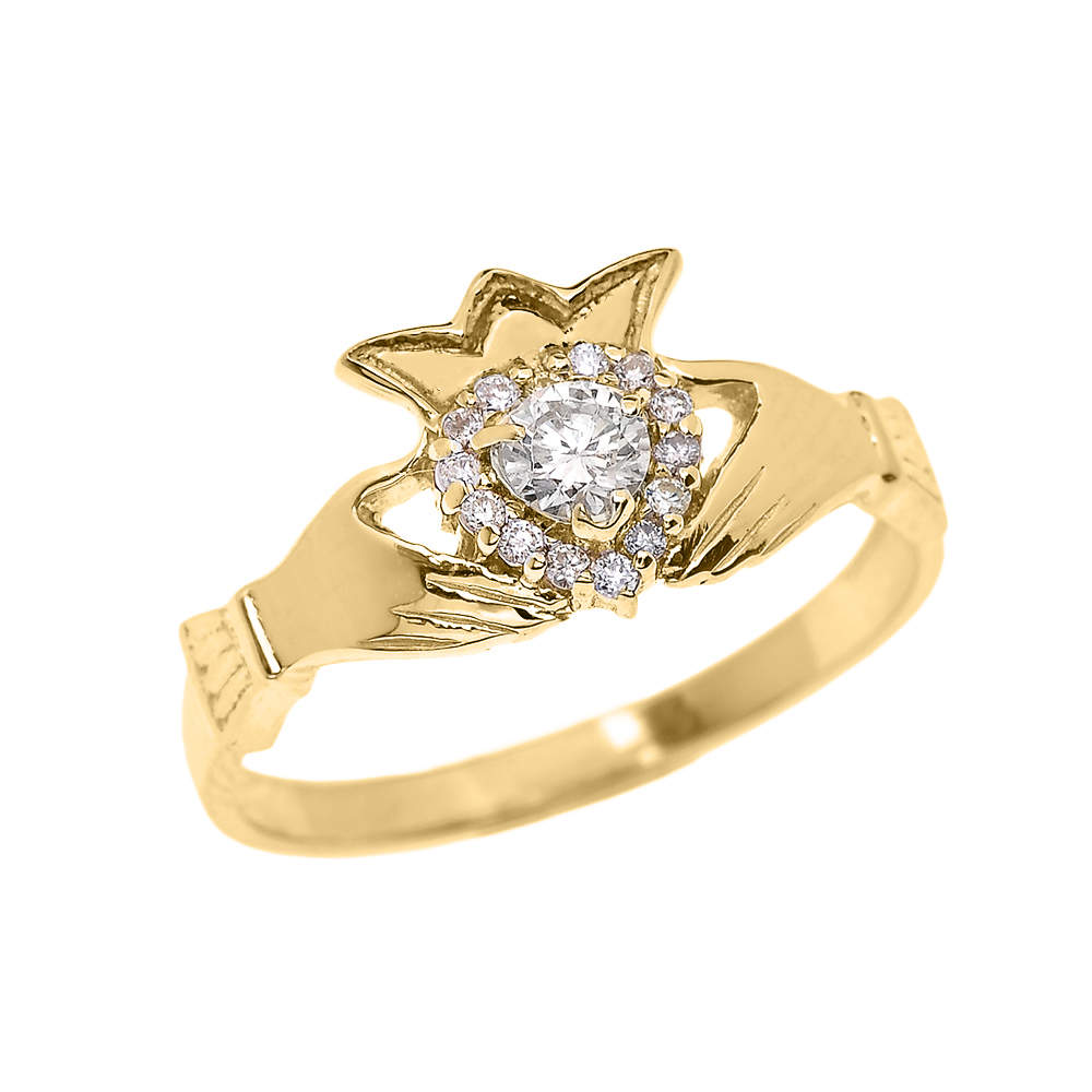 0.15ct Claddagh Engagement Ring in 14K Gold