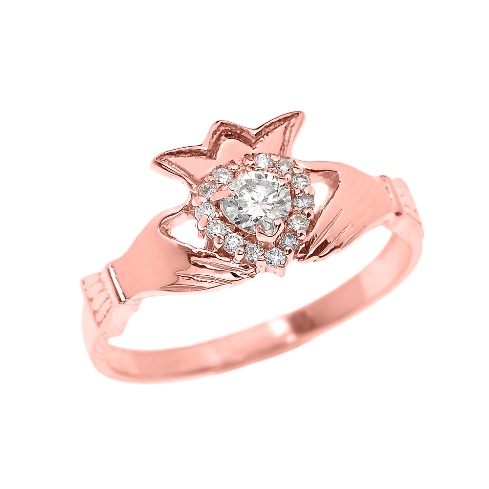 0.15ct Claddagh Engagement Ring in 14K Rose Gold