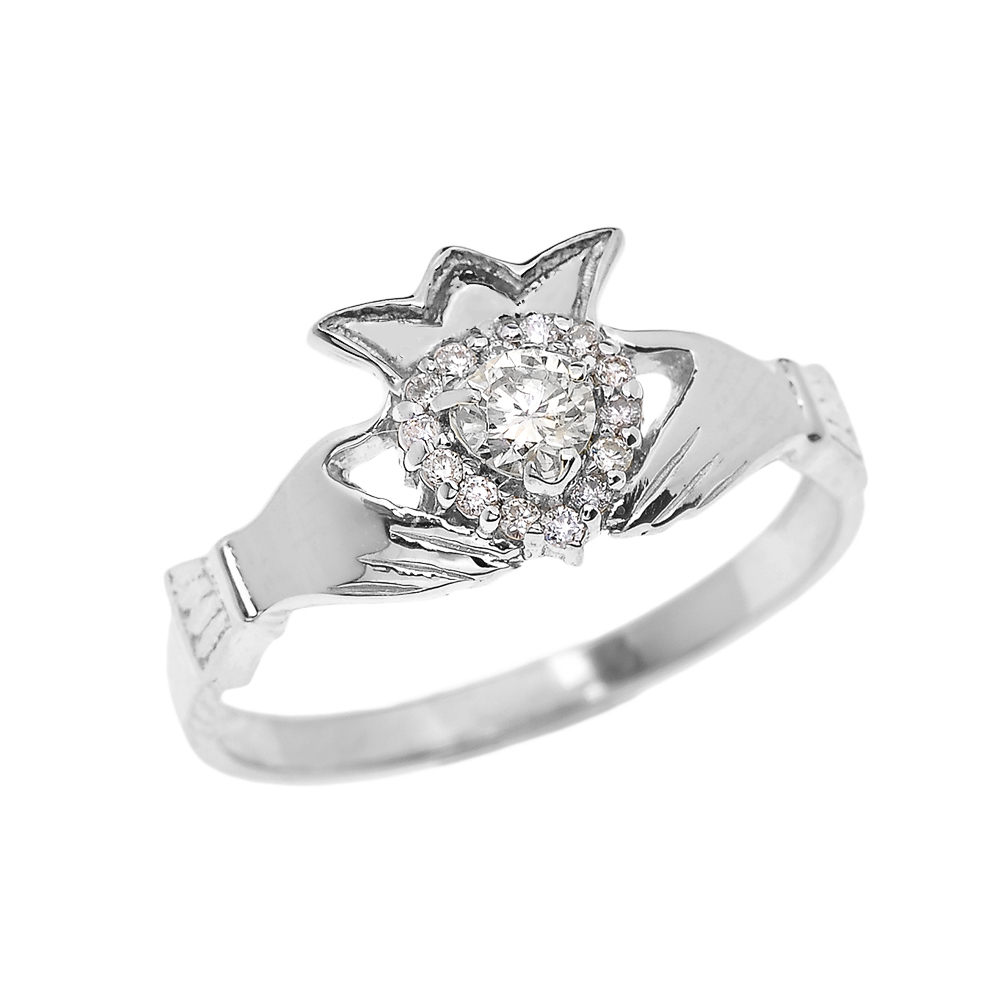 0.15ct Claddagh Engagement Ring in 14K White Gold