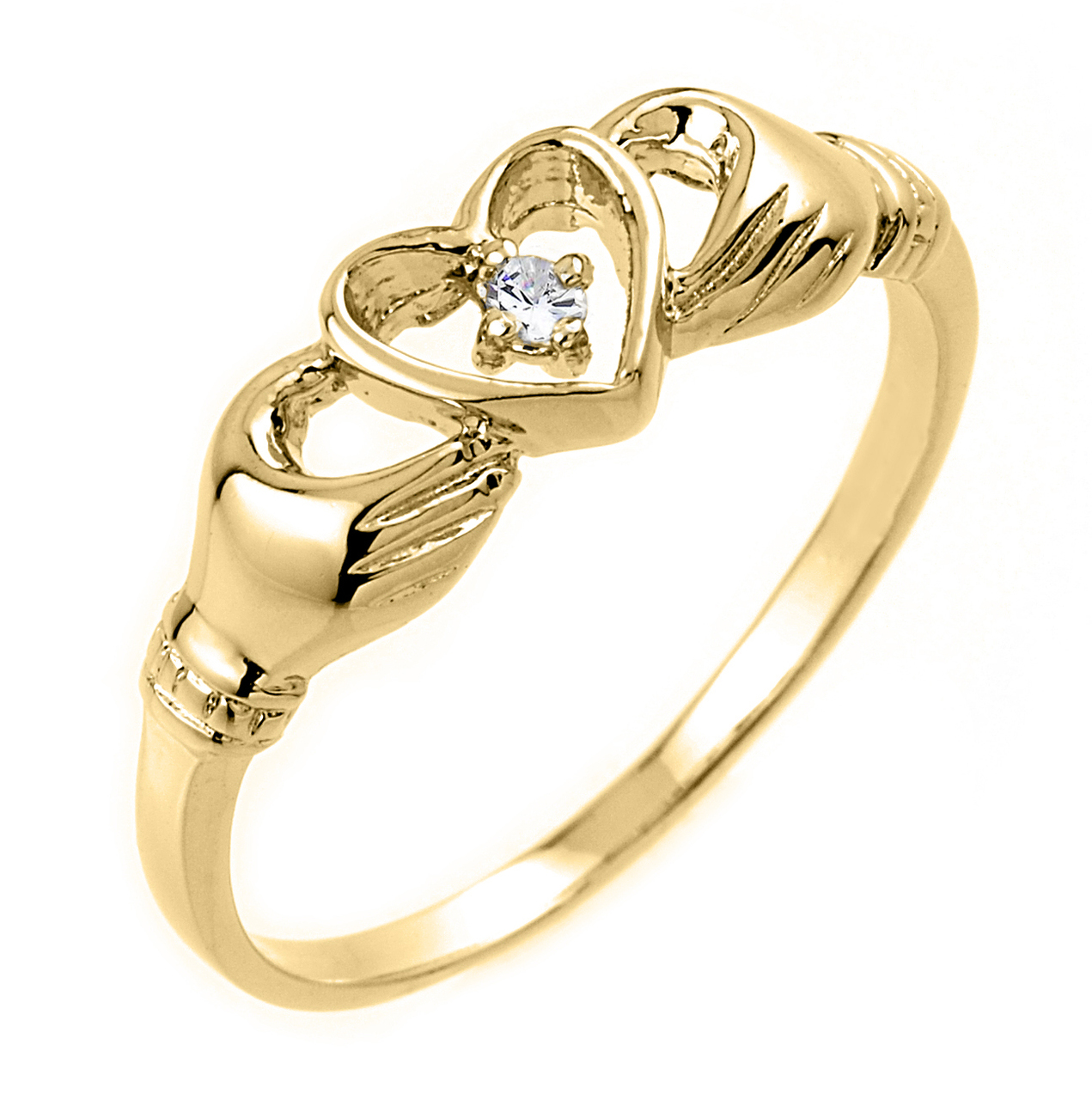0.02ct Claddagh Ring in 14K Gold