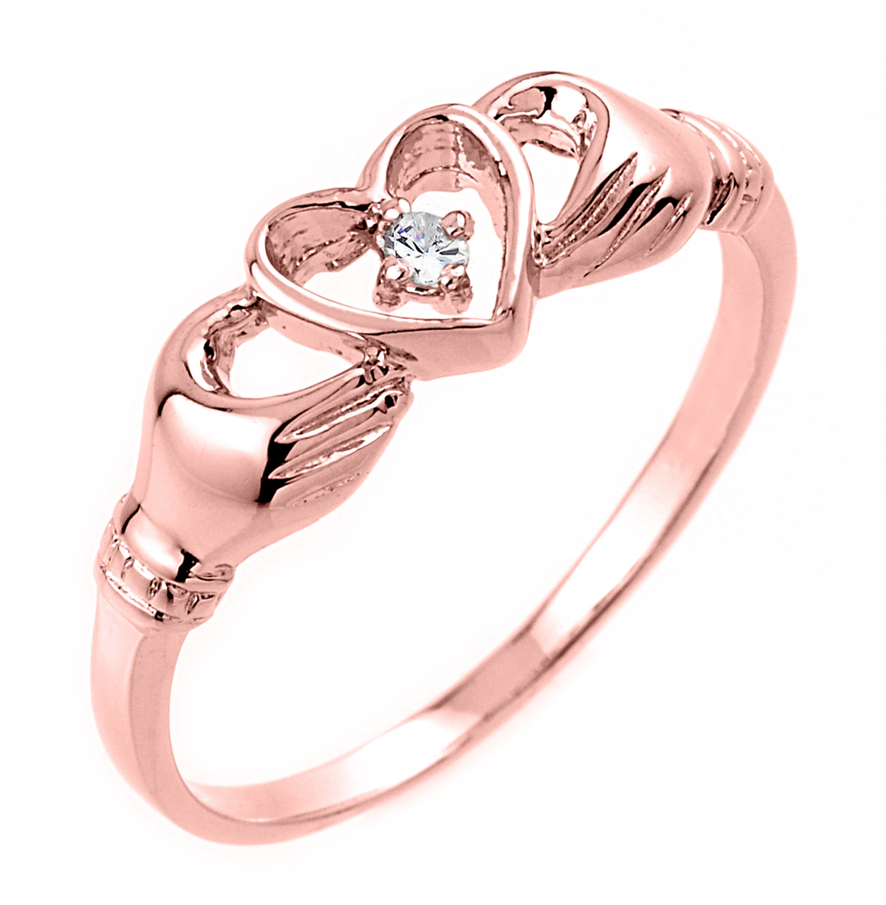 0.02ct Claddagh Ring in 14K Rose Gold