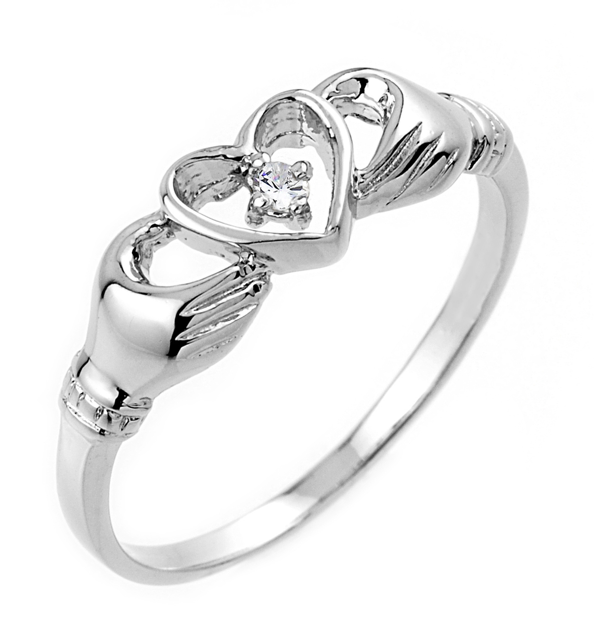 0.02ct Claddagh Ring in 14K White Gold