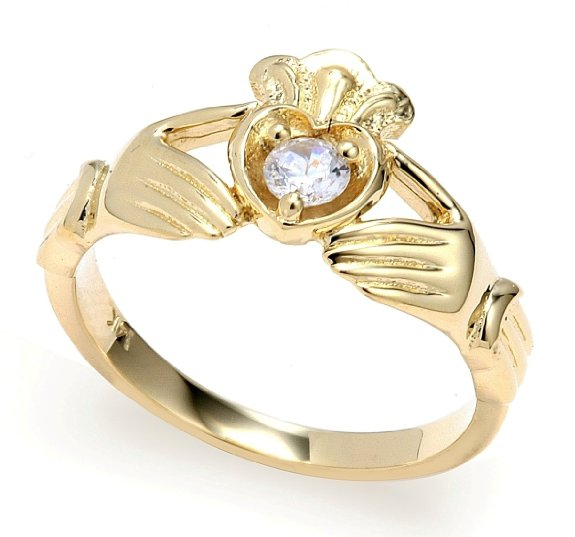 0.16ct Crown Heart Claddagh Ring in 14K Gold