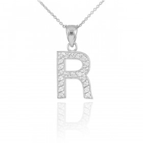 Letter initial r necklaces pendants gold boutique diamond letter r pendant necklace in 9ct white gold mozeypictures Images