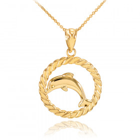 Charm dolphin necklaces pendants gold boutique jumping dolphin circle rope charm pendant necklace in 9ct gold aloadofball Gallery