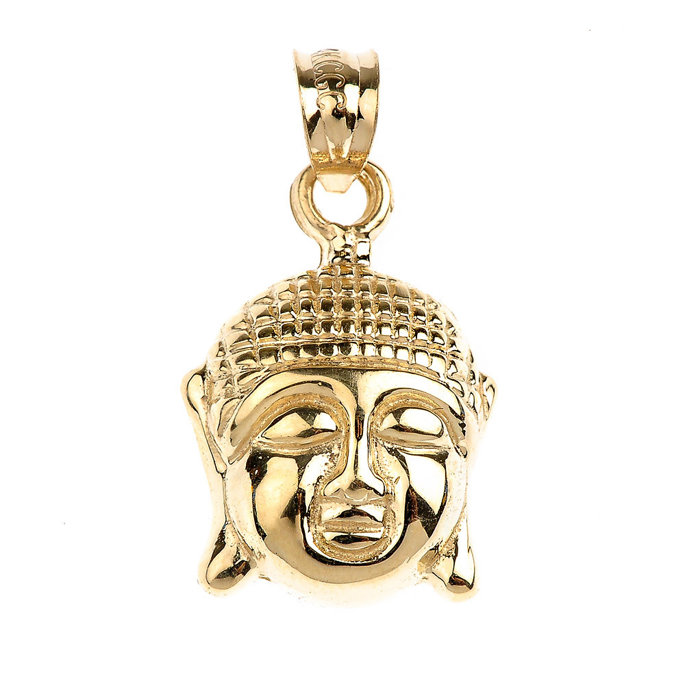 Buddha Head Charm Pendant Necklace in 9ct Gold