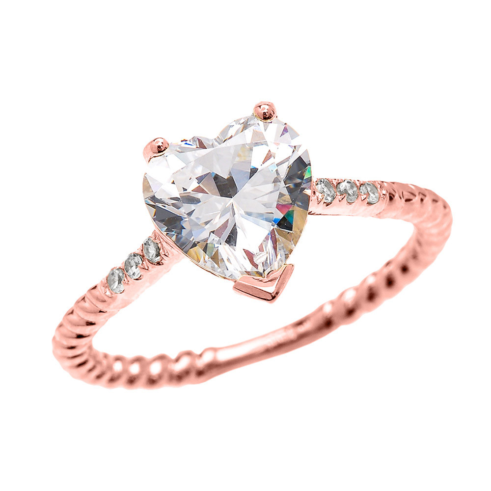 Rope Design Bands: 3.0ct CZ Heart Rope Design Twisted Rope Ring In 9ct Rose