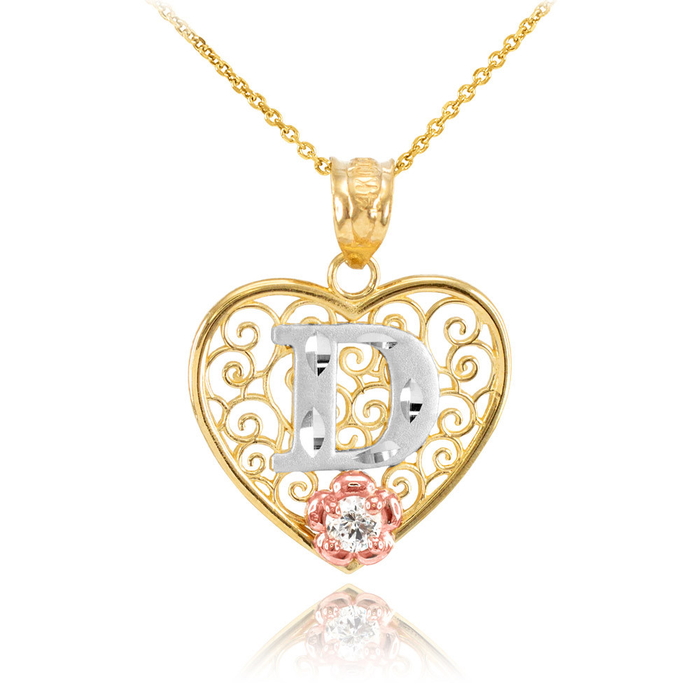 4def4127d52c7 CZ Precision Cut Filigree Heart Letter D Necklace in 9ct Two-Tone Gold