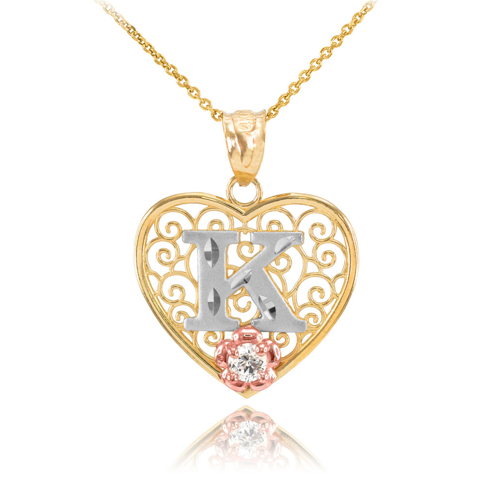 fdb02b7d77f0c CZ Precision Cut Filigree Heart Letter K Necklace in 9ct Two-Tone Gold