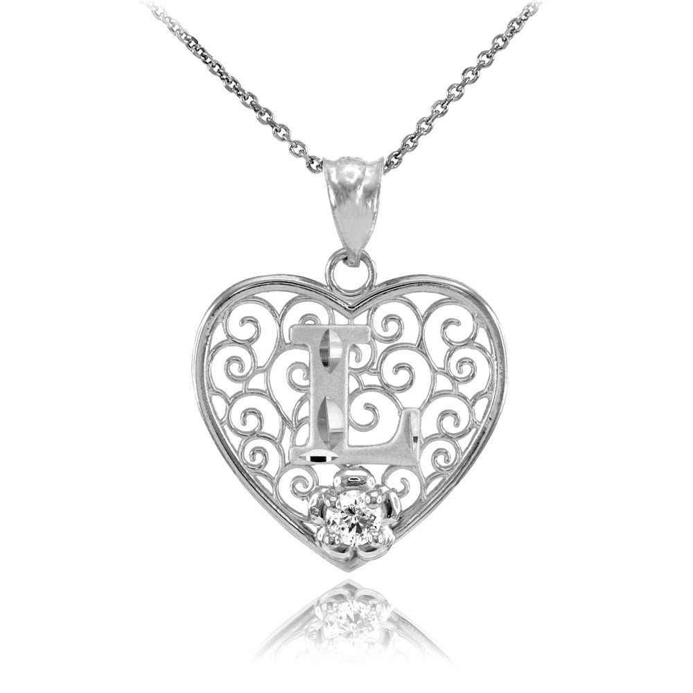 Gold Boutique CZ Precision Cut Filigree Heart Letter L Necklace In Sterling Silver Unique Style