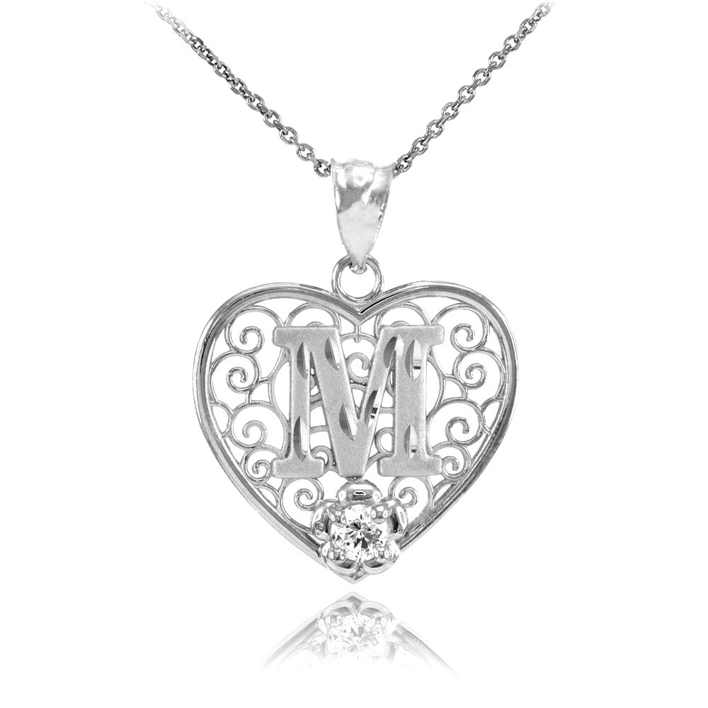 Cz Precision Cut Filigree Heart Letter M Necklace In Sterling Silver