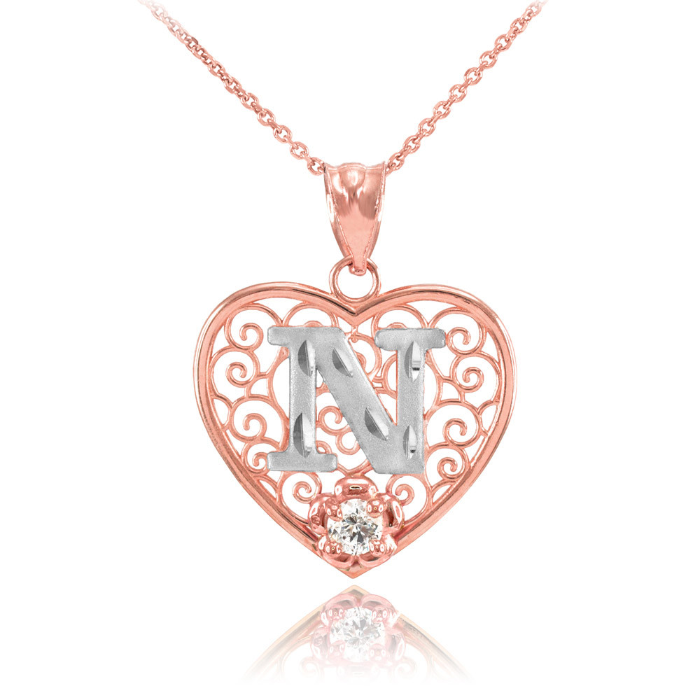 CZ Precision Cut Filigree Heart Letter N Necklace in 10K ...